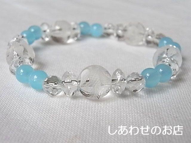 シーブルーカルセドニー/水晶・鳳凰10mm